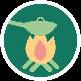 Icon mit Lagerfeuer und Kochtopf