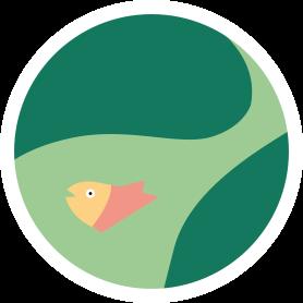 Icon mit Fluss und Fisch